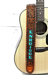 Turquoise Rose Leather Guitar Strap