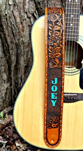Personalized Leather Rose Guitar Strap