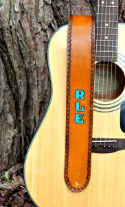 Personalized Leather Guitar Strap with Turquoise Letters