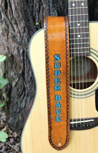 Custom Guitar Strap with Blue Name