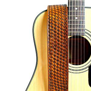 Basket Weave Leather Guitar Strap
