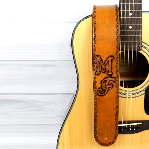 Brand Style Initials Leather Guitar Strap
