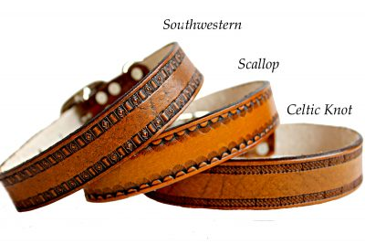 Scallop Southwestern Celtic Border Leather Dog Collar