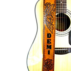 Desert Flower Personalized Leather Guitar Strap