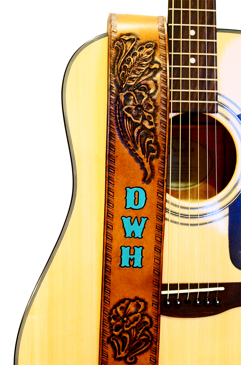 Desert Flower Tan Leather Guitar Strap With Name