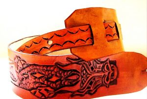 Leather Dragon Hand Tooled Guitar Strap