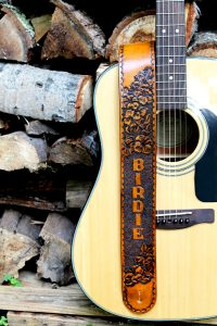 Hibiscus Flower Personalized Leather Guitar Strap