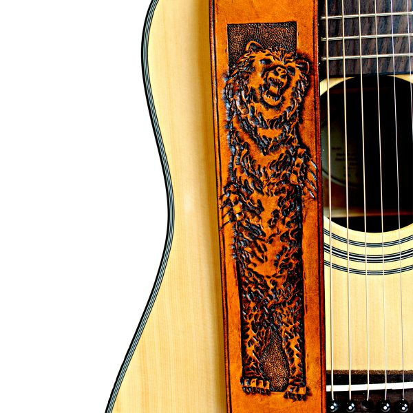 Grizzly Bear Leather Guitar Strap