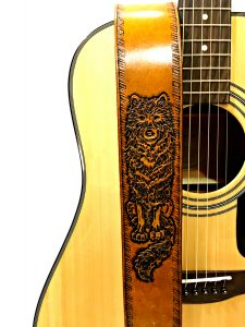 Hand Tooled Leather Wolf Guitar Strap