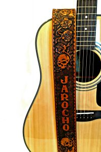 Skulls & Roses Leather Guitar Strap