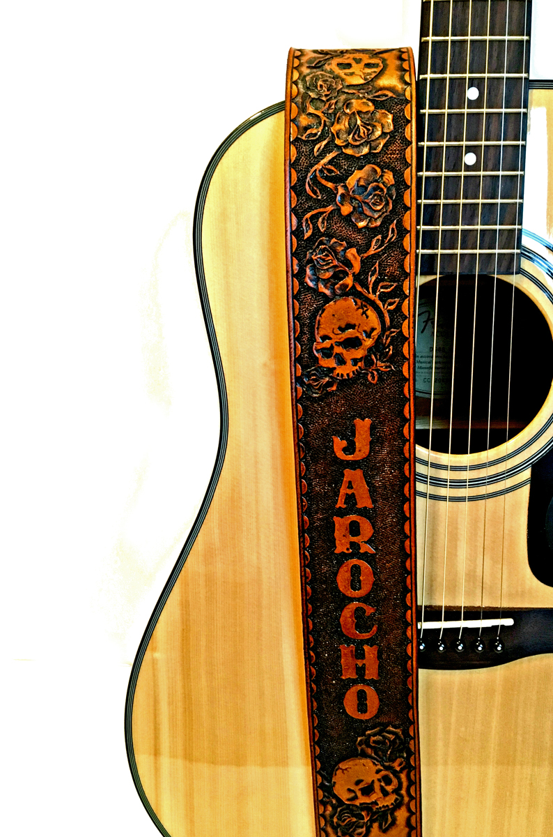 Skulls And Roses Leather Guitar Strap Personalized