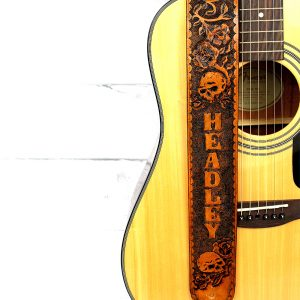 Skull & Roses Guitar Strap with Name