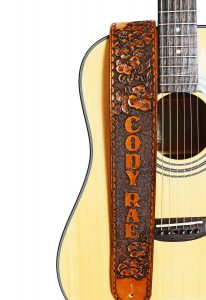 Personalized Hibiscus Flower Leather Guitar Strap