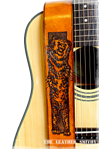 Hand Tooled Bear Leather Guitar Strap