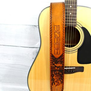 River in the Mountain Leather Guitar Strap Personalized with a Name or Initials