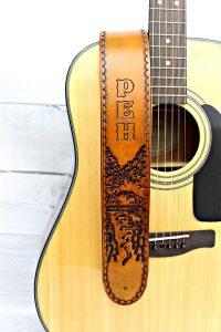 Mt. Katahdin Personalized Leather Guitar Strap