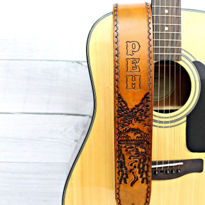 Mt. Katahdin Personalized Leather Guitar Strap