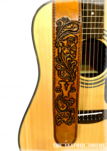 Paisly Flower Custom Leather Guitar Strap