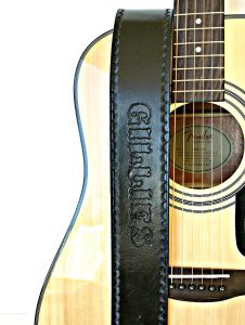 Personalized Black Leather Guitar Strap