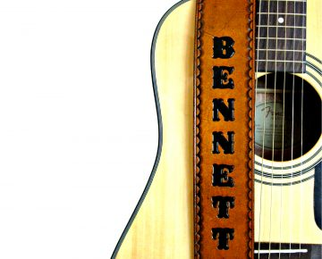 Personalized Hand Painted Tan Leather Guitar Strap