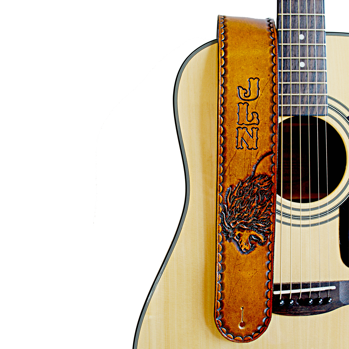 personalized-lion-leather-guitar-strap-the-leather-smithy_1