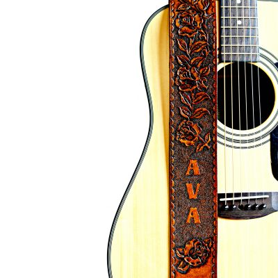 Personalized Roses Leather Guitar Strap