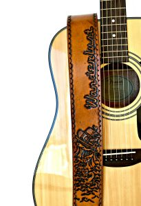 Personalized Ship in Stormy Waters Leather Guitar Strap