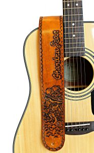 Pirate Ship in Stormy Waters Leather Guitar Strap
