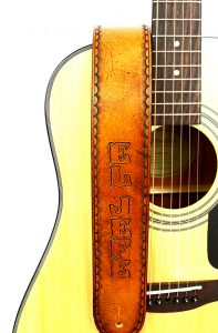 Rustic Personalized Tan Leather Guitar Strap