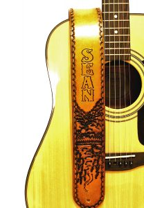 River in the Mountain Personalized Leather Guitar Strap