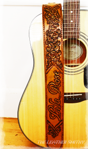 Personalized Rose Flowers Leather Guitar Strap