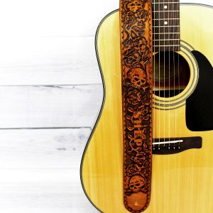 Roses and Skulls Personalized Leather Guitar Strap