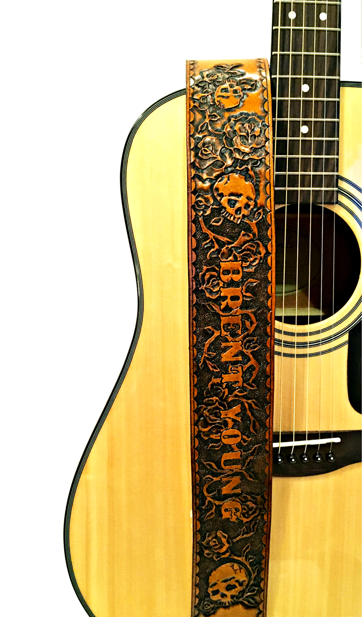 Roses And Skulls Personalized Hand Tooled Guitar Strap
