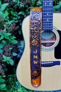 Skull & Rose Personalized Leather Guitar Strap