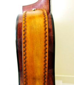Tan Leather Guitar Strap with Scallop Border