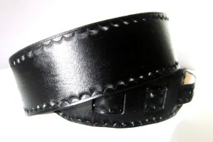 Black Leather Guitar Strap with Scallop Border