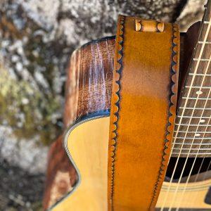 Tooled Tan Guitar Strap