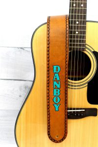 Turquoise Personalized Leather Guitar Strap