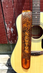 Western Horse Personalized Leather Guitar Strap