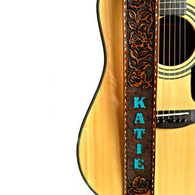 Western Rose Vine Personalized Hand Painted and Tooled Leather Guitar Strap