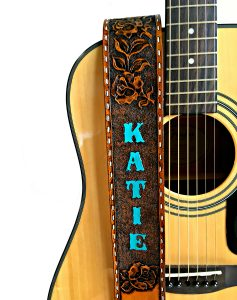 Wester Rose Vine Tooled Leather Guitar Strap