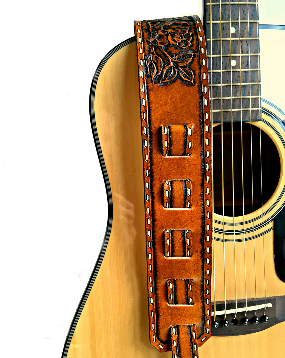 Personalized Western Rose Vine Leather Guitar Strap