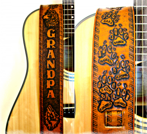 Personalized Wolf Paws Grandpa Leather Guitar Strap