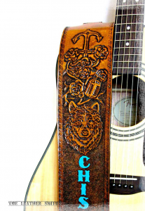 Wolf Rose Anchor Painted Personalized Hand Tooled Leather Guitar Strap