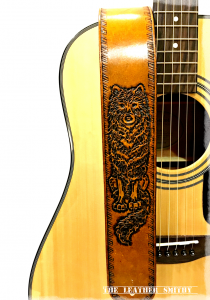 Wolf Wolves Hand Tooled Leather Guitar Strap