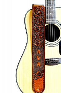 Personalized Leather Guitar Strap with Hand Tooled Roses