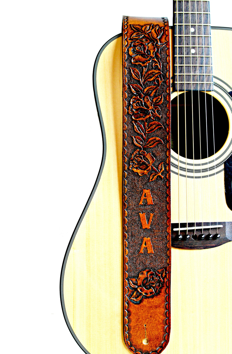 Personalized Roses Tan Leather Guitar Strap