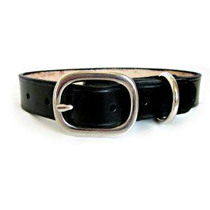 Classic Black Leather Dog Collar