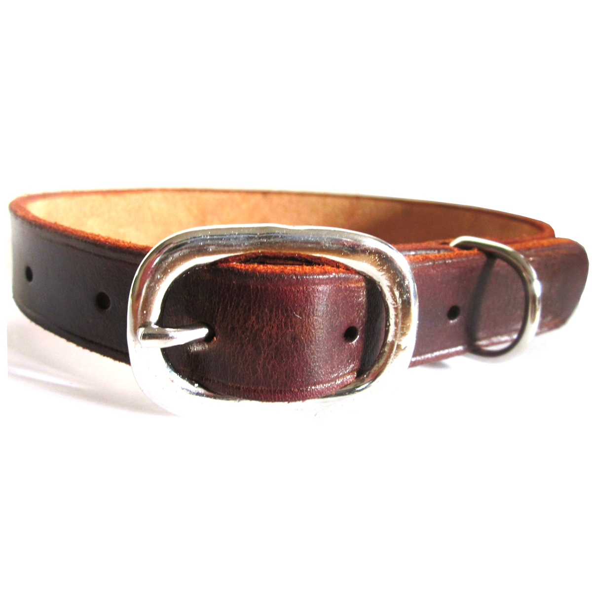 Brown Leather Dog Collar For Medium Or Large Dogs