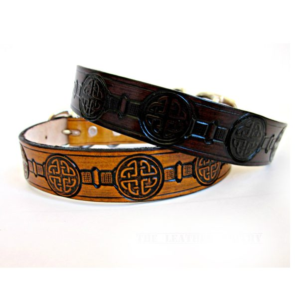 Celtic Knot Leather Dog Collar